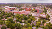 Aerial image of the Ball State University community. Photo by: Michael Wolfe