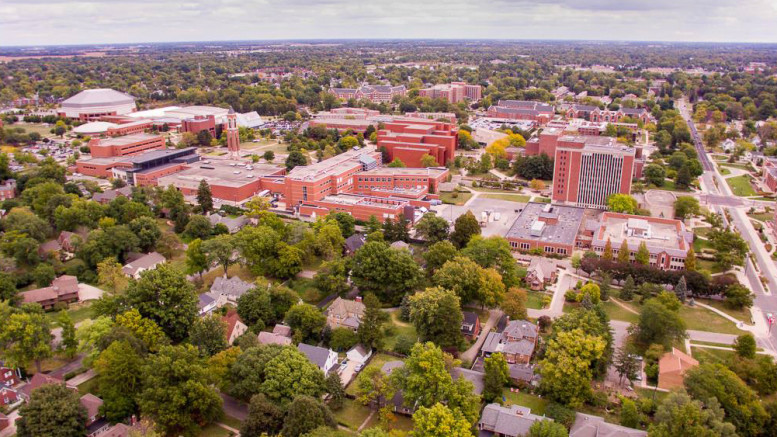 Aerial image of the Ball State University campus. Photo by: Michael Wolfe