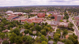 Aerial image of the Ball State Campus. Photo by: Michael Wolfe