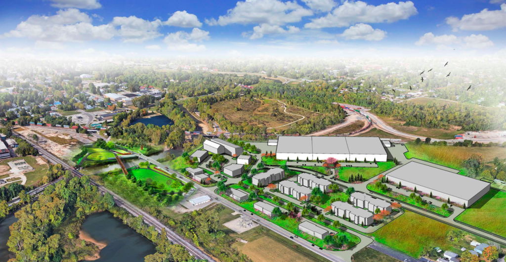 Artist rendering of Kitselman trailhead and Kitselman Pure Energy Park.