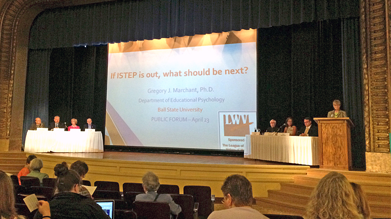 "Approximately 125 stakeholders attended a Public Forum, hosted by the Muncie chapter of the League of Women Voters, to discuss ""If ISTEP is out, what should be next?"" LWV STEP Testing Panel L-R: Dr. Gregory Marchant, Dr. Steven Baule, Rep Sue Errington, Rep. Greg Beumer, Senator Tim Lanane, Dr. Alice Johnson, Sam Snideman, Linda Hanson. Photo by: Daniel Stallings"
