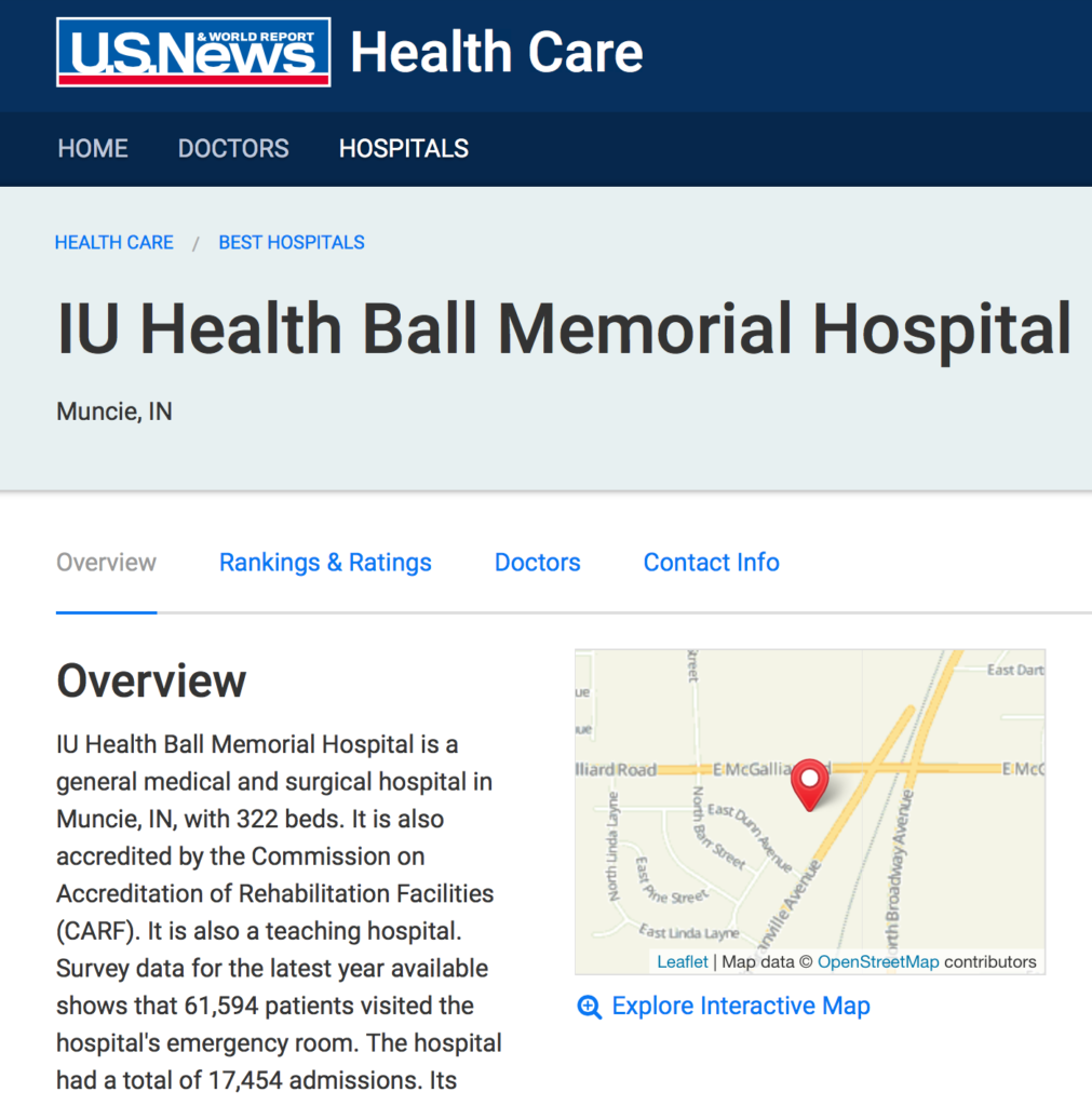 IU Health Ball Memorial Hospital's listing on US News and World Report