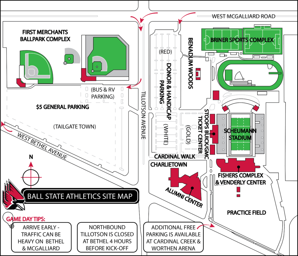 BSU Athletics Site Map. (Click the image for a larger view.)