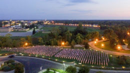 Aerial view of Flags of Honor at Minnetrista. Photo by: Michael Wolfe