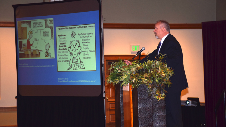 "MCS Superintendent Dr. Steve Baule giving his ""State of the Muncie Community Schools report."" Photo by: Mike Rhodes"