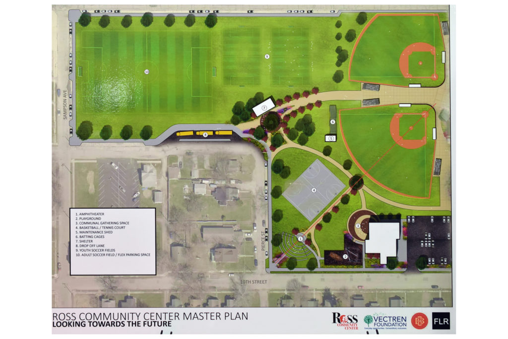 Architectural rendering of new development at Ross Community Center. Home plate at the top right is where the groundbreaking took place.