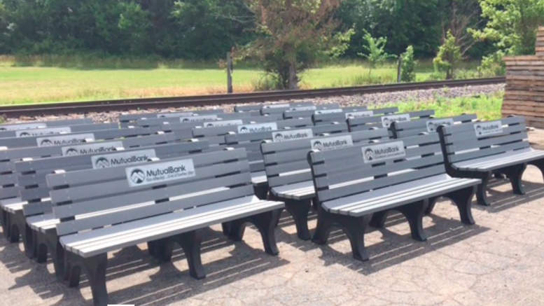 MutualBank Benches constructed out of recycled plastic.