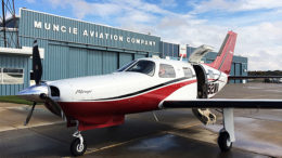 A Piper Mirage preparing for passenger boarding at Muncie Aviation Company. Photo provided.