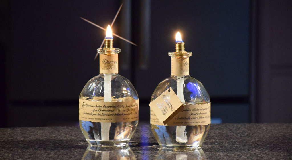 Indoor candles made out of Blanton's bourbon bottles. Photo by: Mike Rhodes