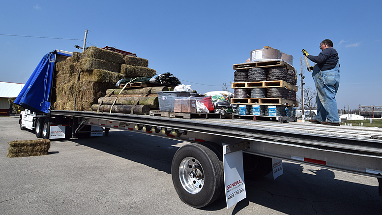 One of four trucks being loaded with supplies to take to Ashland, KS where wildfires have ravaged since early March. Photo by: Mike Rhodes