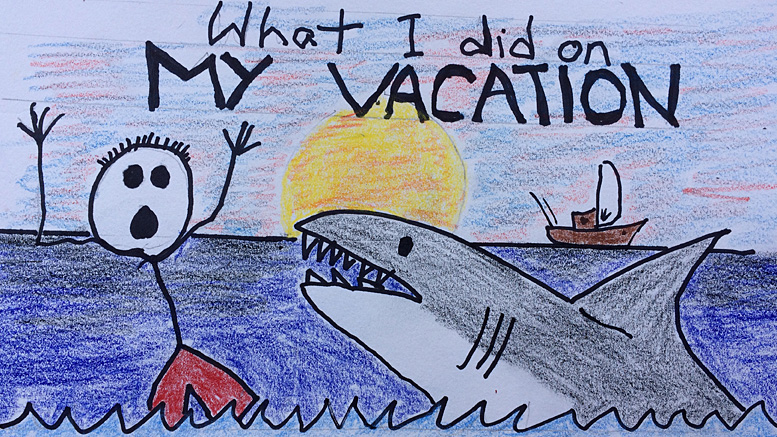 What ruins a fun day at the beach? Sharks! Professional graphic by: John Carlson