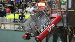 The PhyXTGears robot climbing a rope on an airship tower at the end of a match. Photo provided.