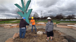 The Ivy Tech totem was installed in the center of the gardens at 1:15pm on April 4th. Photo by: Mike Rhodes