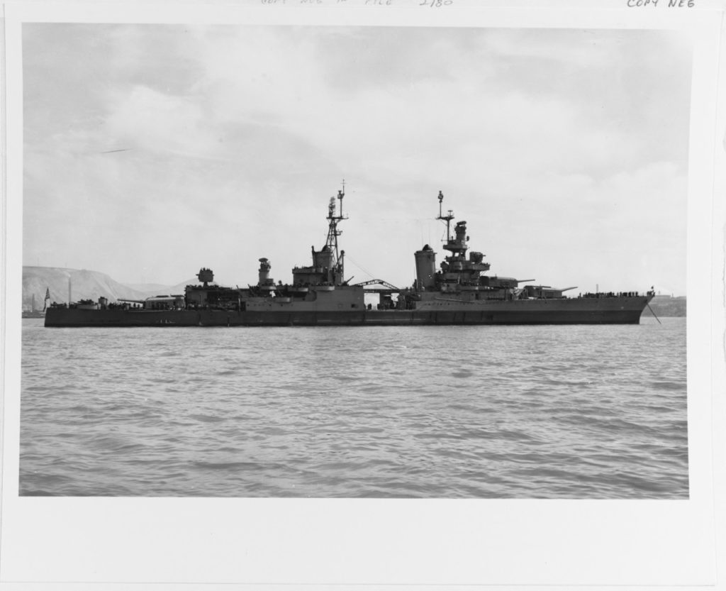 Off the Mare Island Navy Yard, California, 10 July 1945, after her final overhaul. Photograph from the Bureau of Ships Collection in the U.S. National Archives.