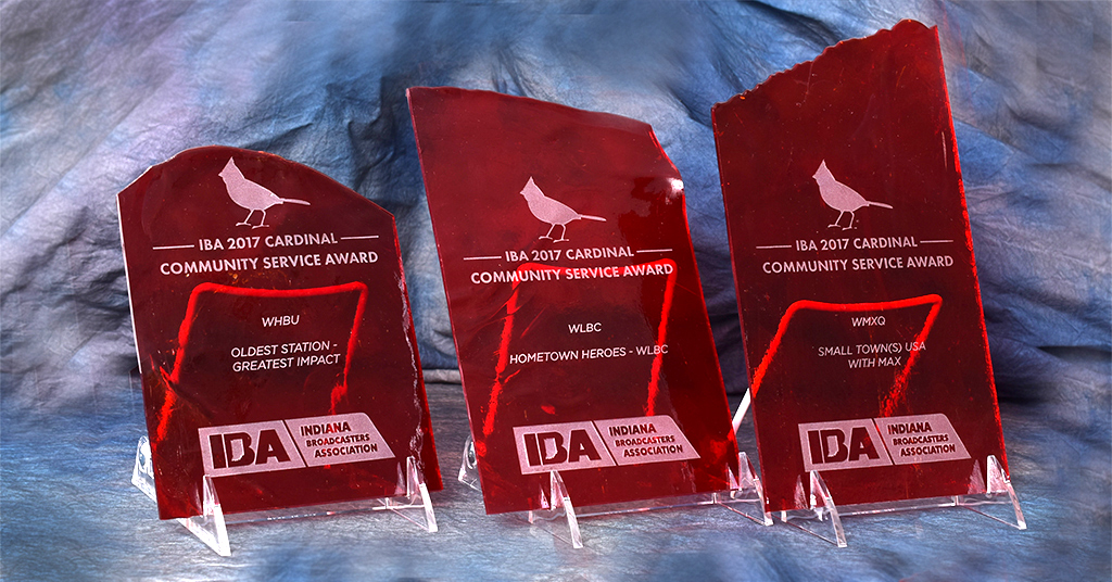 IBA 2017 Cardinal Community Service Awards presented to Woof Boom Radio. The awards were crafted using Kokomo Opalescent Glass— the oldest manufacturer of art glass in the United States. Photo by: Mike Rhodes