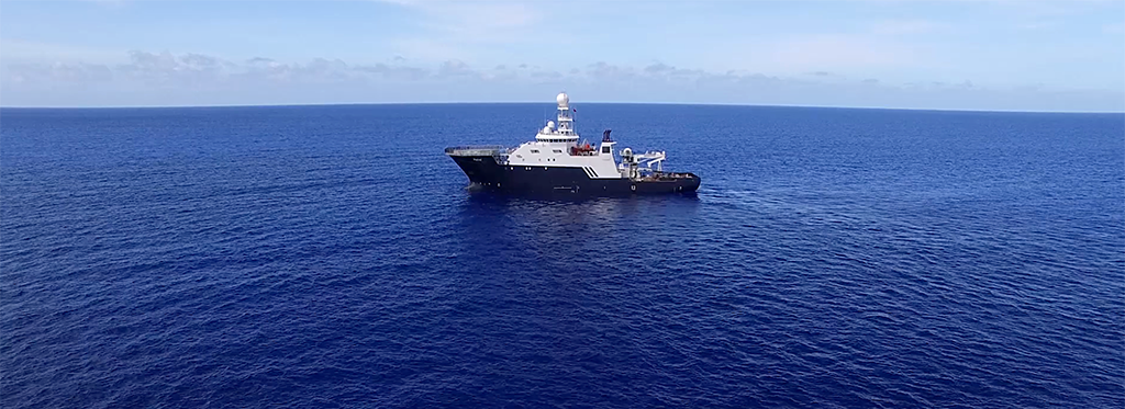 The R/V Petrel, owned by Microsoft Cofounder and Philanthropist Paul G. Allen, at sea in search of the USS Indianapolis. Photo credit: Photo courtesy of Paul G. Allen
