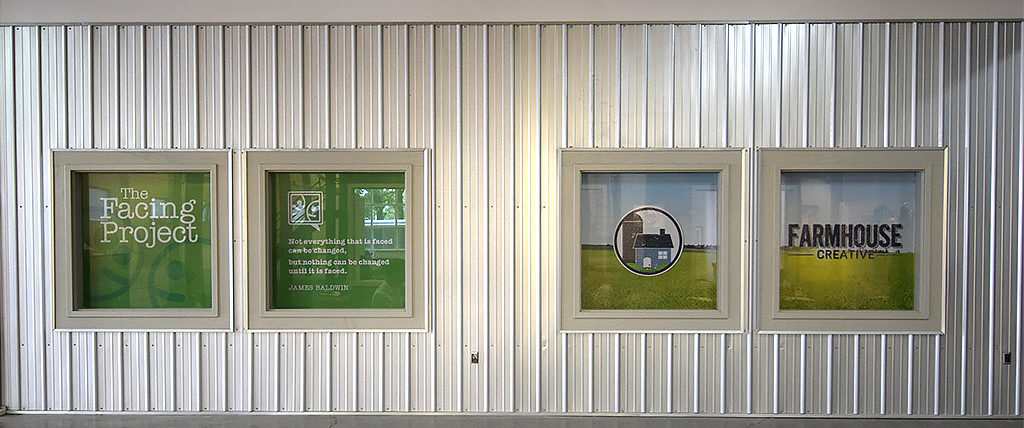 Outside wall of the offices of The Facing Project and Farmhouse Creative. Photo by: Mike Rhodes
