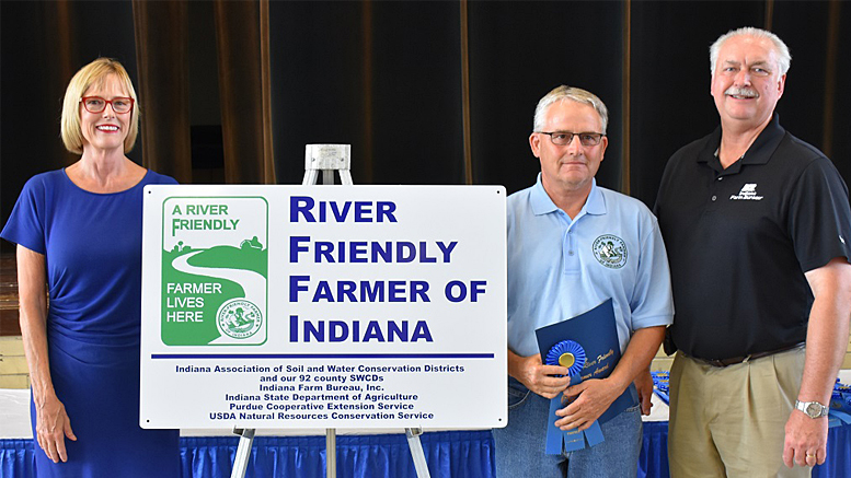 Pictured L-R: Lieutenant Governor Suzanne Crouch, Mr. Larry Shreve, and Indiana Farm Bureau President Randy Kron. Photo by: Indiana Association of Soil and Water Conservation Districts.