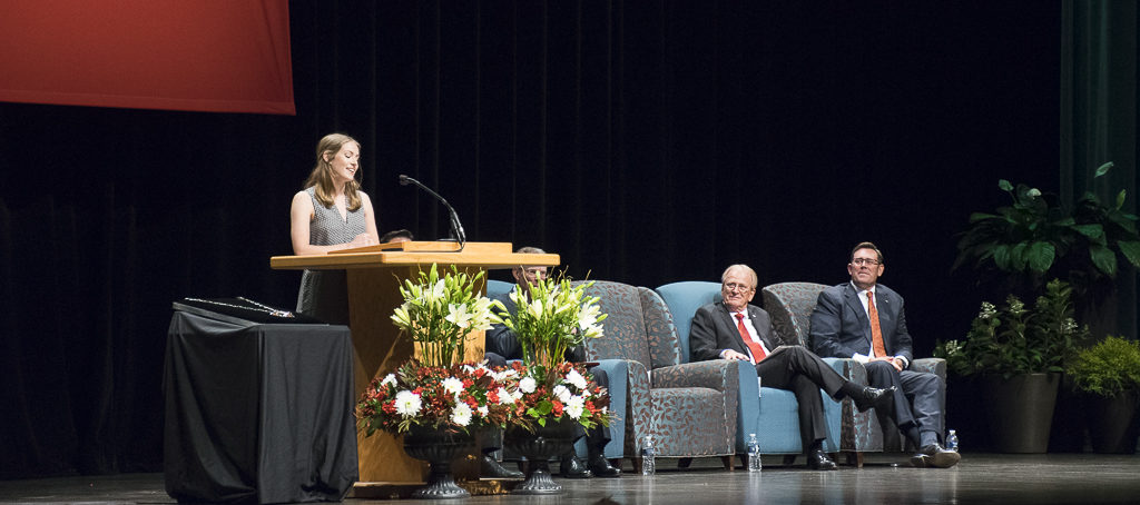 Pictured (L-R) Clare Mearns, Mayor Dennis Tyler and Jud Fisher. President Mearn's daughter, Clare L. Mearns, presented humorous insight to her father during the installation program.