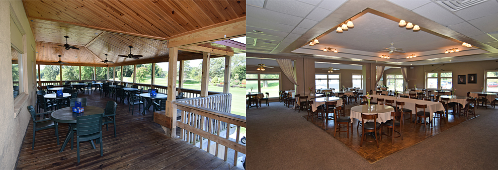 The patio at our location at Grandview Golf Course in Anderson and the adjacent dining room.