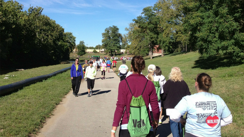 Community members walk along the White River Greenway, part of the Cardinal Greenway trail system. A Kitselman Fund Grant will support the organization's property management plan. Photo provided.