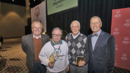 "Mayor Dennis Tyler, Carl Erskine and his son Jimmy, and Emcee Dale Basham at the ""Spirit of Special Olympics"" luncheon. Photo by: Mike Rhodes"