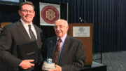 (L-R) Jud Fisher and John Craddock are pictured. John was awarded the Fisher Governance Award in 2017. Photo provided.