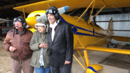 (L-R) Steve Reese, Caroline Todd and Charles Todd prepare for flight. Photo by: John Carlson