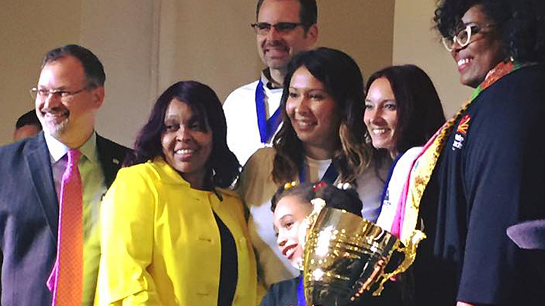 Winners of the first MOM Celebrity Spelling Bee, First Merchants Bank, will be back to try to hang on to the traveling trophy. Photo provided