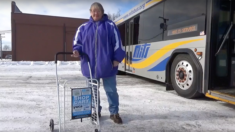 The new grocery carts available for use on MITS buses are pictured. Photo provided.