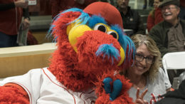 What could be more fun than sitting by Cincinnati Reds mascot, Gapper? Photo by: Mike Rhodes