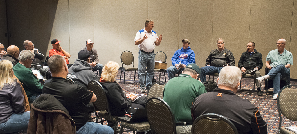 Mike Ogden, Assistant Zone Umpire-In-Chief presents new NSA rules at a breakout session. Photo by: Mike Rhodes