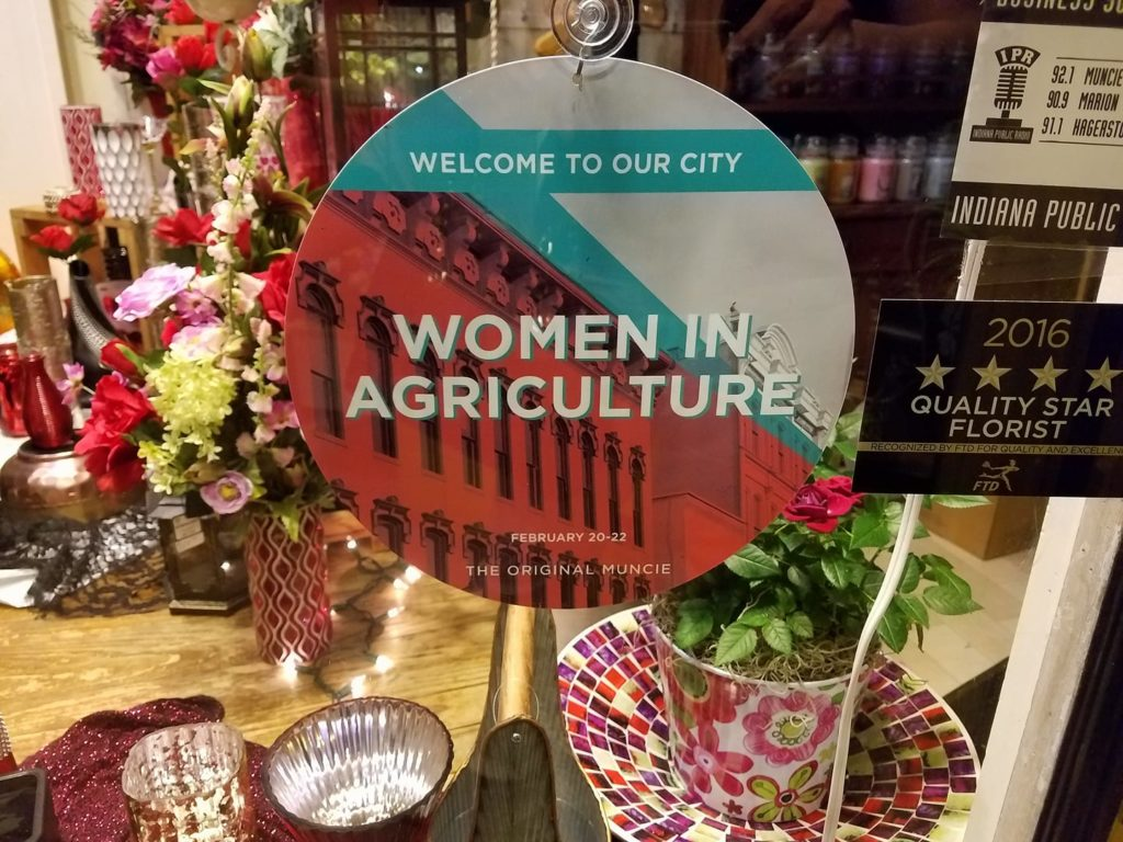 "Comment from Purdue's Women in Agriculture page: ""Really excited to see these signs around Muncie today. Truly one of the best welcomes we have received for the conference."" Photo courtesy of Purdue Women in Agriculture"