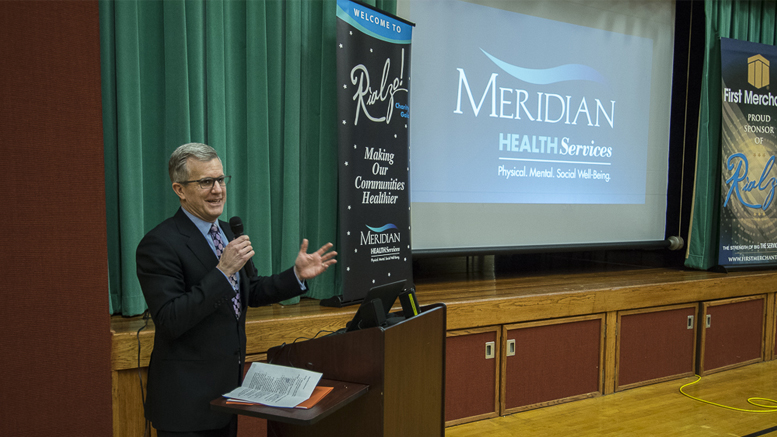 Scott Smalstig is pictured during a Wednesday press conference at the Suzanne Gresham Center. Scott presented information on Meridian's Maternal Treatment Program. Photo by: Mike Rhodes