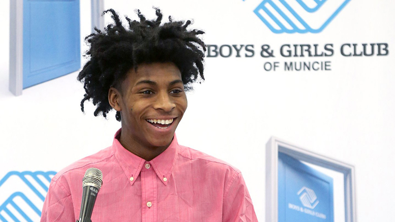 Kamrein Jackson speaks and tells his story at the Great Futures Luncheon, held in January of 2018. Photo provided.