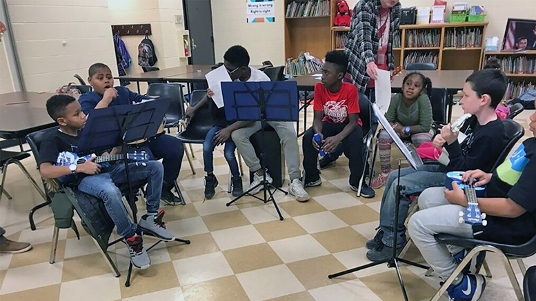 Boys & Girls Clubs of Muncie members participate in a music program at one of its after school programs. Photo provided.