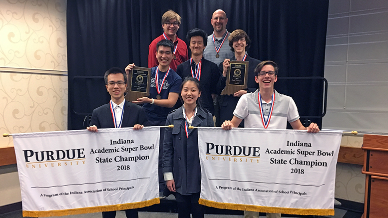 Indiana Academy's winning science and math teams are pictured with coach Joshua Ruark. Photo provided.