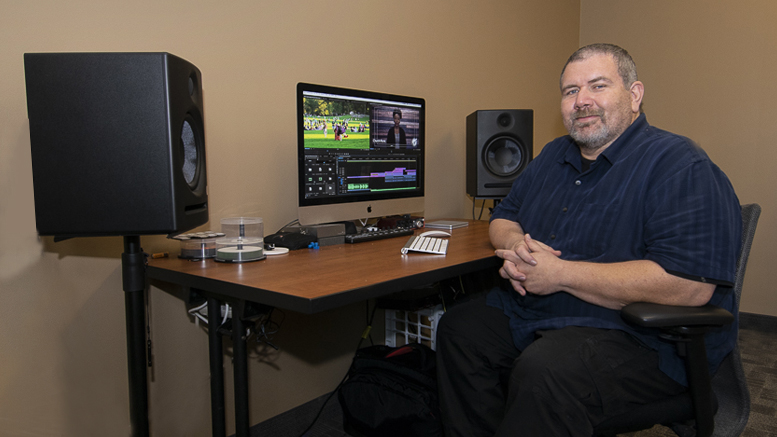 Mark Slusher, president of Endpoint Creative is pictured at his video editing suite inside the Innovation Connector. Photo by: Mike Rhodes