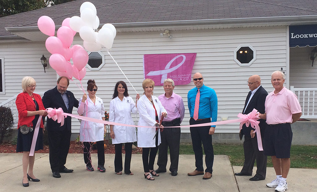 Ribbon Cutting announcing Lookworthy as an iS Clinical Cancer Care™ certified spa.