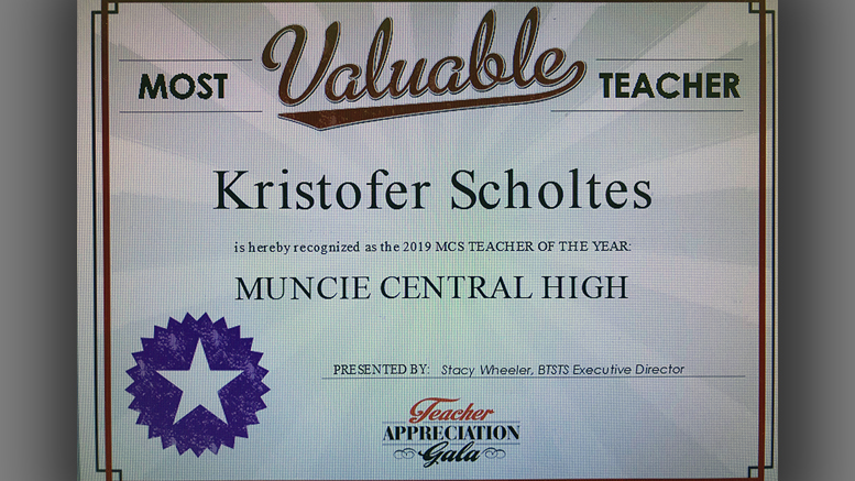 Kristofer Scholtes,Named MCS District Teacher of the Year. Photo by: Stacy Wheeler