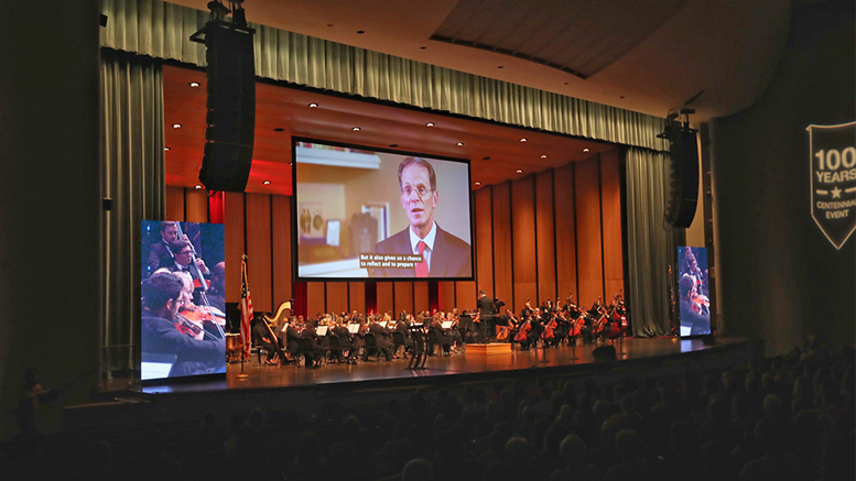 A scene inside Emens Auditorium as Ball State kicked off the Centennial Celebration. Photo provided.