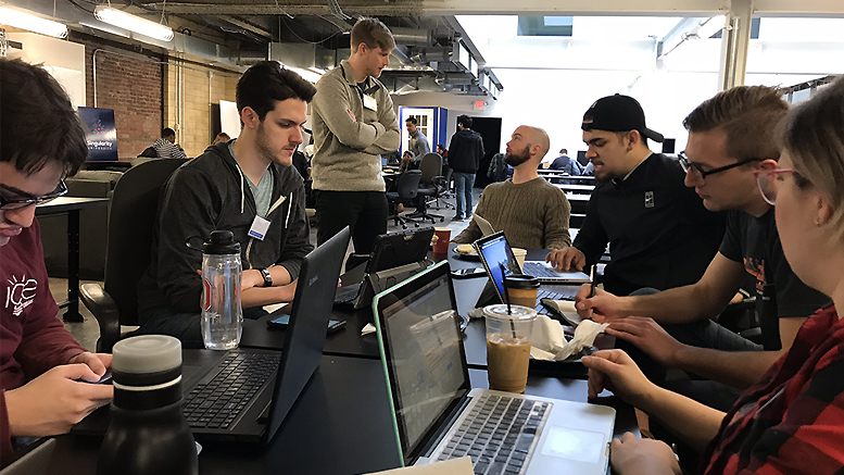 Ball State students Alex Kane and Guadalupe Vega are pictured working with their team at Startup Weekend Columbus. Kane joined the organizing team for Startup Weekend Muncie after attending the event in Columbus. Photo provided.