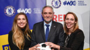 WJC CEO and Executive Vice President Robert Singer, center, with Seren Fryatt (right) and Alyssa Chassman (left), winners of the NY Pitch for Hope competition. Photo by: Shahar Azran