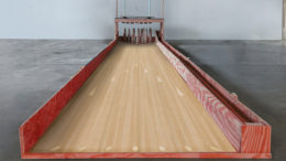 Artist Heather Van Winckle brings a homemade candlepin bowling lane to the Muncie Mall with the PlySpace Residency Program. Photo provided