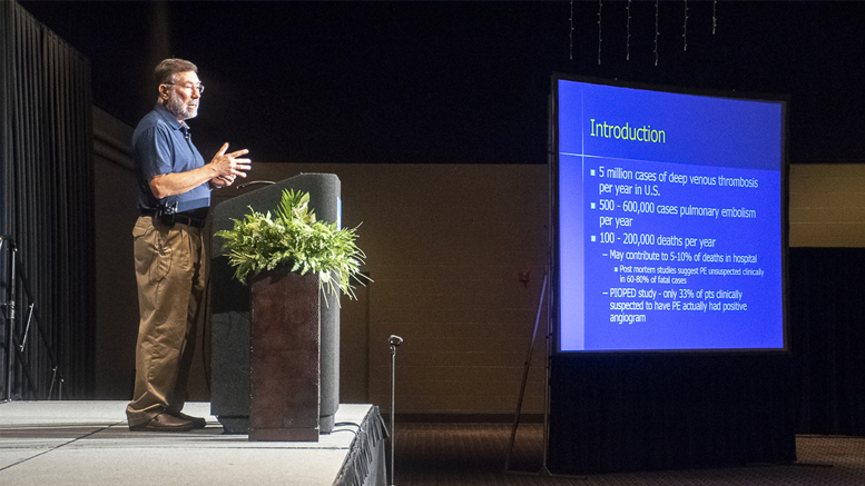 "Daryl Morrical, MD, FACP, FCCP from Muncie is pictured presenting his seminar titled: ""Pulmonary Embolism—Same Old Disease, New Options for Diagnosis and Management."" Photo by: Mike Rhodes"