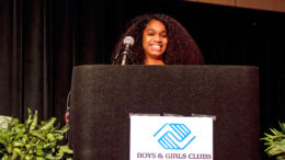 Jayonna Taylor accepts her Youth of the Year award and shares what it means to her in front of the Great Futures Dinner attendees at the Horizon Convention Center. Photo provided