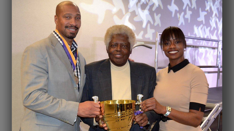 The MOM Celebrity Spelling Bee is set for Feb. 21 at Cornerstone Center for the Arts. Ball State University's Office of Institutional Diversity - with an assist from local blues legend Governor Davis - won the 2017 MOM Celebrity Spelling Bee. Photo provided.