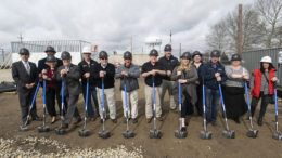 Members of Delaware Dynamics, Muncie-Delaware County Chamber of Commerce, and government officials are pictured during the ground-breaking ceremony. Photo by: Mike Rhodes