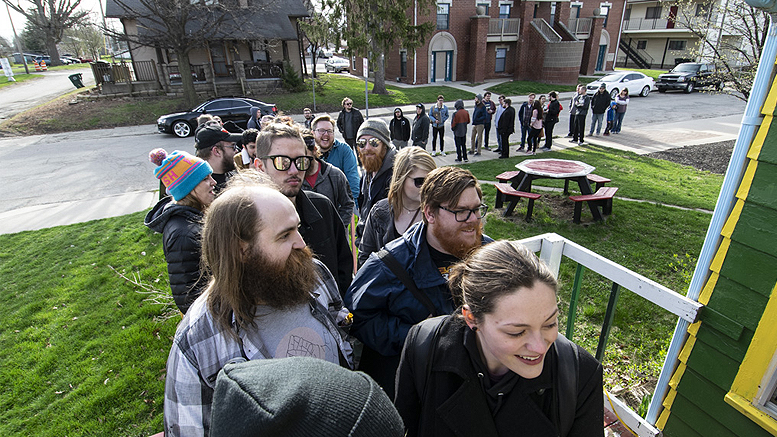 The line outside Village Green Records at 9am Saturday. Photo by: Mike Rhodes