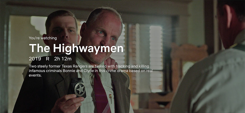 """The Highwaymen"" movie playing on Netflix utilized a Heidi J Hale design for the badge you see Woody Harrelson holding in this photo."